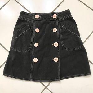 Marc Jacobs Black Denim Button Skirt 8